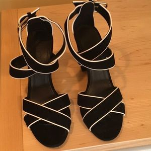 J. Crew black with white piping crisscross heels
